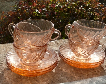 French Vintage Espresso Cups and Saucers. Six Pink Tempered Glass Arcoroc demmi tasse Coffee Cups.