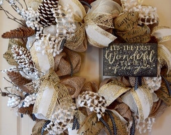 Ivory, Black and Champagne Glitter Burlap Wreath; The Most Wonderful Time of the Year; Country Christmas Wreath; Winter Handmade Door Decor