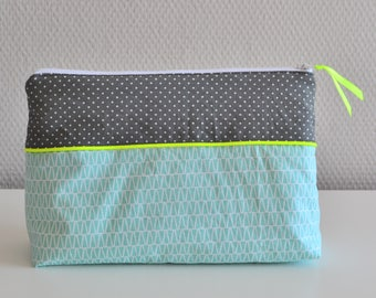 Toiletry in cotton / fluo yellow white grey green