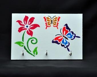 "KEY RACK/ORGANISER on mdf. 6"" x 4"" butterflies"