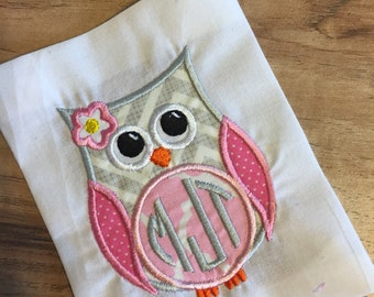 Monogram Owl Shirt or Onesie Embroidered Personalized