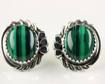 Native American Indian Jewelry Handmade Sterling Silver Malachite Post Earrings