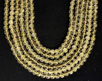 """Natural LEMON Quartz Smooth Round beads fantastic color fine finish 1 strand 13"""" inch size 7 to 8 mm approx100% natural quartz beads"""