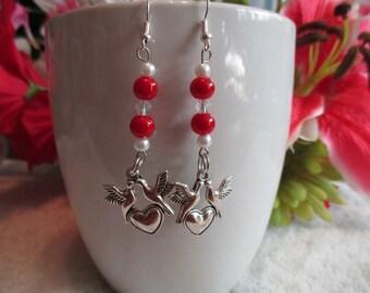 Love Doves Glass Bead Earrings