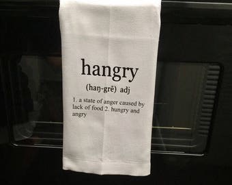 Kitchen Flour Sack Tea Towel- Hangry- Tea Towel