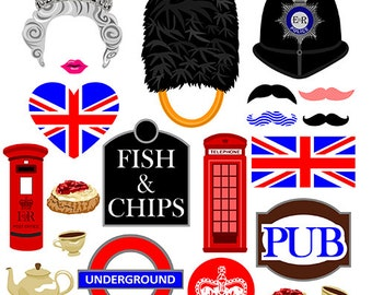 British digital photo booth party props instant download