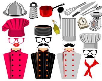 Chef digital photo booth party props instant download