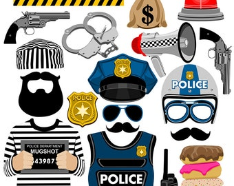 Police digital photo booth party props instant download