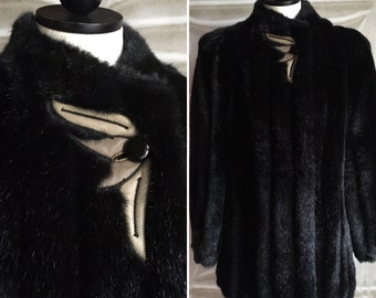 80s does 40s faux fur winter coat 1980s 1940s vintage