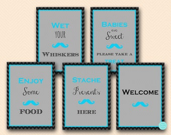 Turquoise Mustache Baby Shower Decoration Signs, Baby Shower Signs,  Printable Table Signs, Decoration