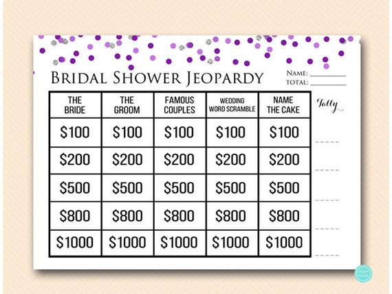 Purple Silver Jeopardy Bridal Shower