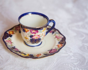 Beautiful Tea Cup and Saucer, Blue with Flowers, Demitasse