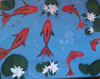 Original Acrylic on Canvas The Koi Pond Painting