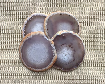 Raw Agate Coasters set of 4pieces Gray Agate Slice Coasters Gold/Silver Rimmed Agate Coasters for Wedding/Party/Dinner Home Decor 14