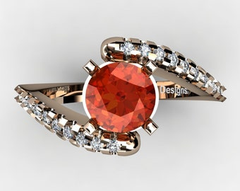 Modern French 14K Rose Gold 1.0 Ct Orange Sapphire Diamond Ring R1099-14KRGDOS