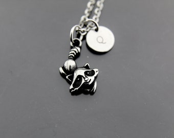Silver Raccoon Charm Necklace, Raccoon Charm, Stainless Steel Raccoon Pendant, Personalized Necklace, Initial Charm, Initial Necklace