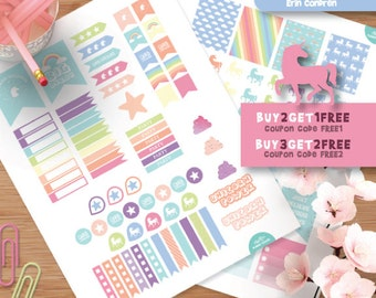 Cute Unicorn Planner Stickers for Erin Condren Life Planner, Weekly Planner, Printable Planner Stickers, Pastel Stickers Kit
