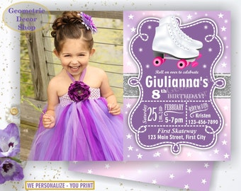 Roller Skates / Birthday Invite / Invitation / Purple Pink Silver Sparkles Girl Printable Photo Photograph Roller Skates invitations BDRS10