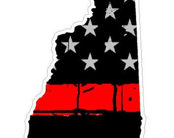 New Hampshire State (C30) Thin Red Line Vinyl Decal Sticker Car/Truck Laptop/Netbook Window
