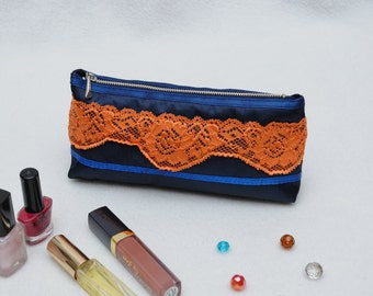 Cosmetic Bag Makeup Bag Make Up Bag Cosmetic Case Cosmetic Organizer Womens Travel Tote Orange lace Makeup Clutch Gift Ideas Gift for Women
