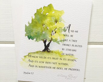 Tree on a Hill, Watercolor Painting, Psalm 1:3, Scripture Art
