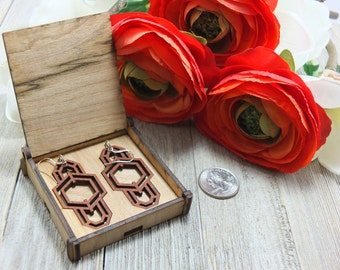 Laser cut wood earrings #22