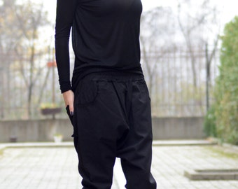 Black Drop Crotch Pants/ Extravagant Pants/ Asymmetric Pants/ Black Pants/ Low Crotch Pants/ Loose Pants/ Running Pants/ Casual Pants