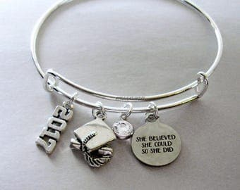 """2017 / 2018 Charm / Graduation  """"She Believed She Could So She Did""""  Bangle W/  Birthstone  / High school / College Gifts / Under 20 30  GD1"""