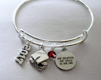 "2017 2018 Charm / Graduation  ""She Believed She Could So She Did""  Bangle W/  Birthstone  / High school / College Gifts / Under 20 30 -  GD1"