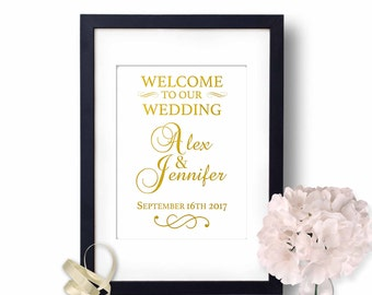 Welcome to our wedding sign, Welcome Sign, Welcome wedding sign, Gold Wedding Sign, wedding reception signs, gold wedding decor,