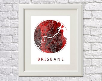 Brisbane Street Map Print Neighborhood Map of Brisbane City Street Map Brisbane, Australia Poster Wall Art 7009R
