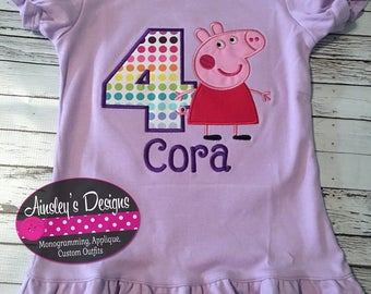 Peppa pig birthday shirt! Peppa pig first birthday! All birthday numbers available!