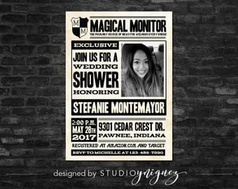 Magical Newspaper Bridal Shower Invitation, Wizard Newspaper Printable Invitation, Custom Newspaper Bridal Shower Invitation