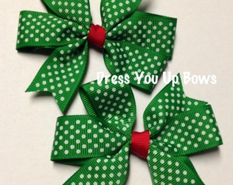 "Set of 2 pigtail bows - 3.5"" green white swiss polka dot red hair bow party pinwheel baby toddler teen  piggies Christmas gift"