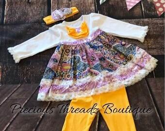 Lavendar Lace Paisley Boutique Outfit