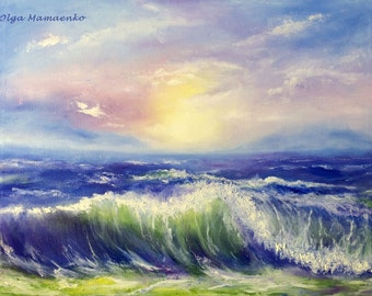 Wave, Sunset, Original Oil Painting, Canvas 24 x 18 in,  (Not Framed)