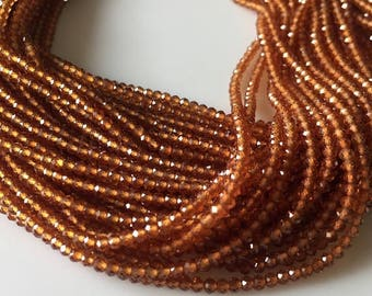 ON SALE 50% 3mm Faceted Hessonite Garnet Round Rondelles Beads, Excellent Quality Uniform Cut, 13 Inch Strand, GDS520