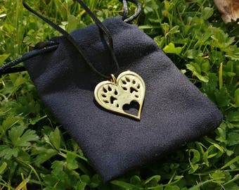 Ferret heart necklace, 18k Gold Plated, ferret paw print, heart pendant, 3D printed, semi precious metal, pendant jewellery