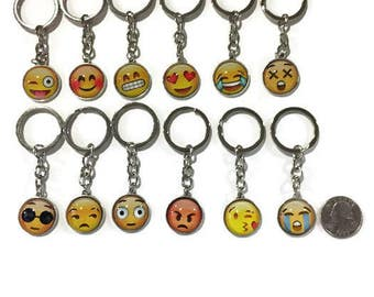 Emoji keychains set of 12 unqiue ones