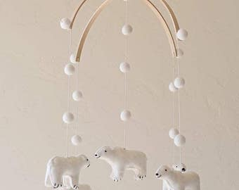 baby mobile - nursery decor - bear mobile - polar bear mobile - polar bear MADE TO ORDER