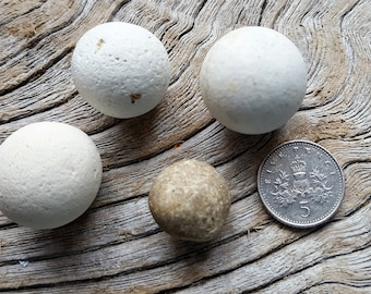Set 10 - Victorian Clay Marbles (4)  - genuine North East English Coast sea treasure - direct from Imogen's Beach