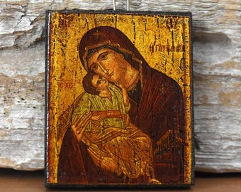 Vintage Greek Icon Madonna and Child Religious Art Reproduction Mother Mary and Baby Jesus