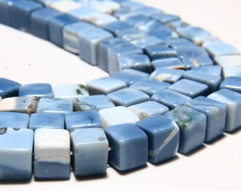 """16"""" Full Strand Natural Blue Opal Smooth Cube Beads 6mm to 7mm Cube Shape Blue Opal Gemstone Beads Strand Stone Briolettes"""