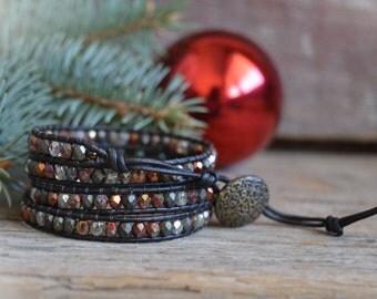 Beaded Wrap Bracelet, Wrap Bracelet, Boho Wrap, 4 Wrap Bracelet, Leather Beaded Bracelet, Bohemian Wrap Bracelet, Leather Wrap Bracelet