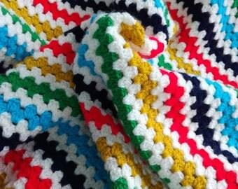 Crochet baby blanket, granny stripe blanket, cot blanket, baby blanket, baby gift, nursery, striped baby blanket,