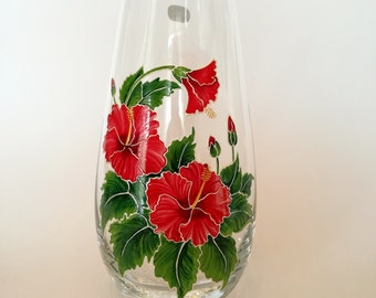 Holiday Gifts for Her Hand Painted Vase Flower Glass House Decor Women Gift for Mom Sister Bohemia Crystal Table Decoration Red Hibiscus
