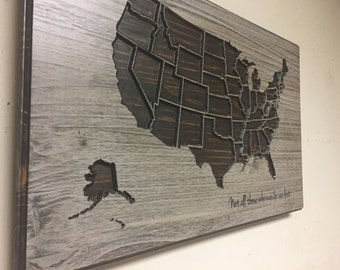 Wood Us Map Wall Art Carved United States Map Us Map By