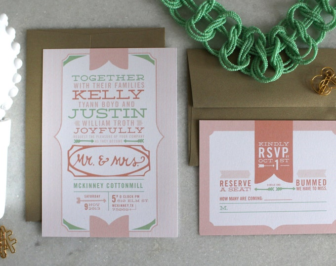 PRINTABLE Wedding Invitation Suite | Trim and Prim in Blush & Mint