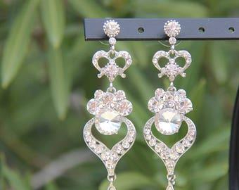 clear rhinestone earrings, clear rhinestone pageant earrings, clear rhinestone prom earrings, bridal earrings