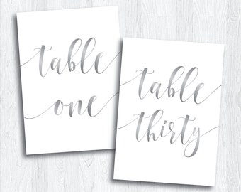 Printable Silver Script Table Numbers 1 - 30 | Instant Download | Printable Gray Wedding Table Numbers | Banquet Reception Event (SHINE Set)